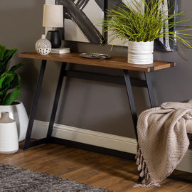 Manor Park Rustic Wood and Metal Entryway Table