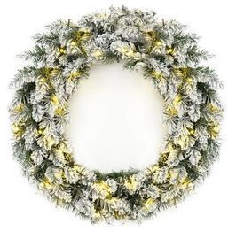 24in Pre-Lit Artificial Pine Wreath w/ 50 White LED Lights