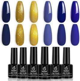Beetles Blue & Gold Glitter Gel Polish Set- 6 Colors