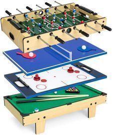 4-in-1 Table Game Set w/ Air Hockey, Table Tennis, Billiards, Foosball