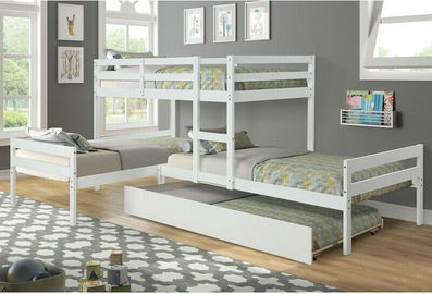 Solid Pine L-Shaped Twin Bunk Beds w/ Trundle