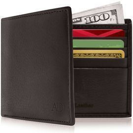 Genuine Leather Bifold Mens Wallet w/ ID Window + RFID Blocking