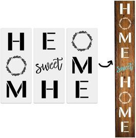 3Pcs Home Sweet Home Large Vertical Stencils for Porch Sign