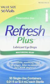 Refresh Plus Lubricant Eye Drops, 50 Single-Use Containers