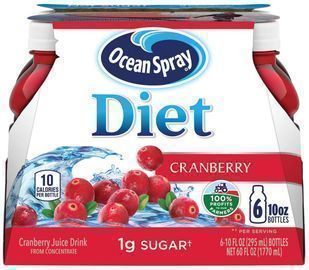 6 Pack of Ocean Spray Diet Cranberry Juice Drink, 10oz Bottles