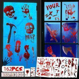 162 Pc. Bloody Window Clings Halloween Decor