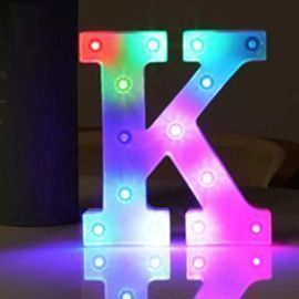 Battery-Powered LED Colorful Letter Light w/ Remote