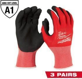 X-Large Red Nitrile Level 1 Cut Resistance Dipped Work Gloves, 3pk