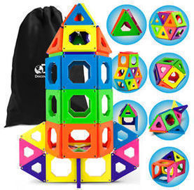 Discovery Kids 50pc Magnetic Building Tiles Construction Set w/ Storage Bag