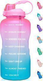 64oz Motivational BPA Free Leakproof Water Bottle w/ Straw & Time Marker