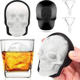 2pk Extra Large 3D Skull Ice Cube Mold