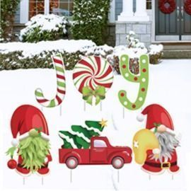 Large Christmas Yard Stakes - 6 Pieces