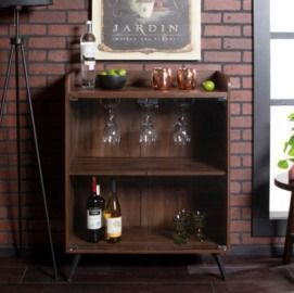 Walker Edison 30 Dark Walnut Glass Door Bar Cabinet
