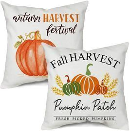 Set of 2 Fall Harvest Outdoor Throw Pillow Covers