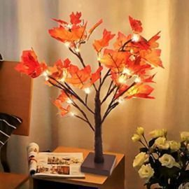 24 LED Lighted Fall Maple Tree Table Centerpiece Decor