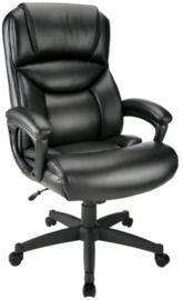 Realspace Fennington Bonded Leather High-Back Executive Chair, Black