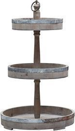 Creative Co-Op Decorative Wood & Metal Three Tier Tray