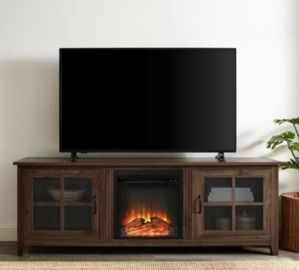 70 Dark Walnut Composite TV Stand with Electric Fireplace