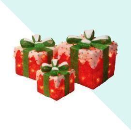 3pc Gift Box Christmas Decoration Lighted Display Set
