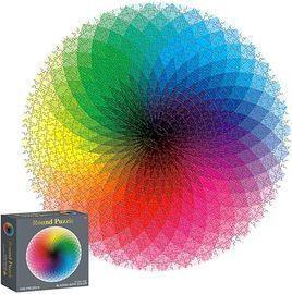 Houkiper Round Jigsaw Rainbow Gradient Puzzle, 1000pc