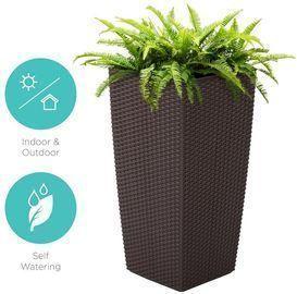 Indoor Outdoor Self-Watering Planter w/ Wheels, Water Gauge