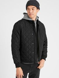 Banana Republic Men's Wrinkle Resistant Quilted Bomber Jacket