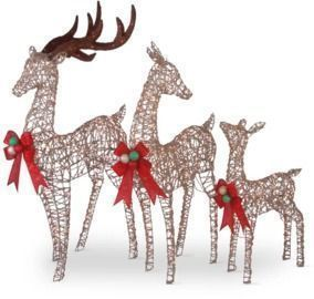 3 Piece Deer Family Assortment Lighted Display Set