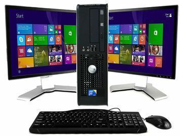 Dell Optiplex or HP Pro Elite Desktop PC w/ Two 19 LCD Monitors (Refurb)