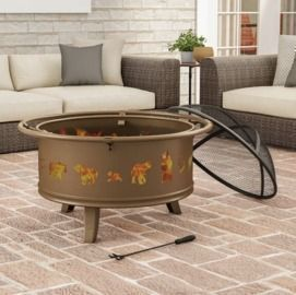 Janson Outdoor Deep Steel Wood Burning Fire Pit