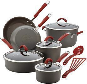 12pc Rachael Ray Cucina Hard Anodized Nonstick Cookware Pots and Pans Set