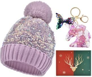 Winter Sparkling Knitted Beanie Hat + Keychain