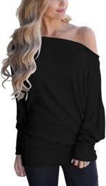 Off Shoulder Long Sleeve Oversized Pullover Sweater