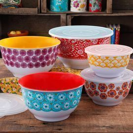 10pc The Pioneer Woman Traveling Vines Melamine Mixing Bowl Set