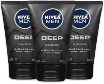 NIVEA Men DEEP Cleansing Beard & Face Wash - 3pk