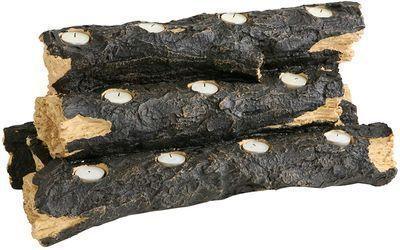 SEI Furniture Resin Tealight Faux Log Candle Holder