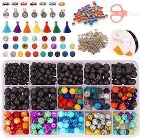 740+pcs Lava Beads Kit with 7 Color Chakra Beads