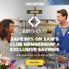 $25 Sam's Club 12 mo. Membership + Free Pizza (via Groupon)