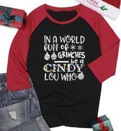 3/4 Sleeve Raglan Christmas Lights Graphic Shirt