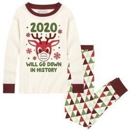 Cream & Maroon Triangle Cottage '2020 Will Go Down' Jogger Pajama Set