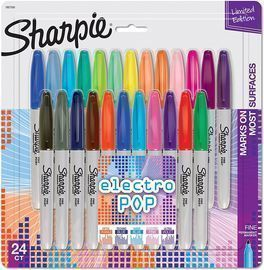 Fine Point Electro Pop Sharpies, 24 Count