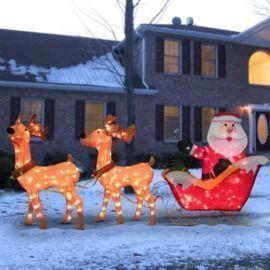 Santa w/ 2 Deer Sleigh Christmas Decoration Lighted Display