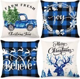 18x18 Christmas Pillow Covers - Set of 4