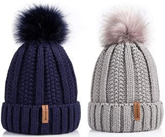 Warm Knit Slouchy Beanie - Fleece lined