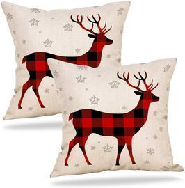 9ABOY Reindeer Throw Pillow Cover 2-Pack