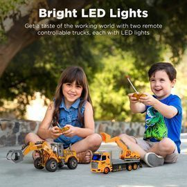 2-Pack Remote Control RC Construction Trucks w/ LED Lights