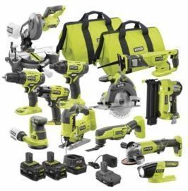 RYOBI ONE+ 18V Cordless 12-Tool Combo Kit w/ 3 Batteries and Charger