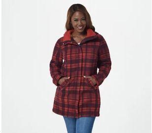 Denim & Co. Petite Fleece Bonded to Sherpa Coat w/ Detachable Hood