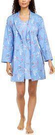 Charter Club Cotton Floral-Print Wrap Robe