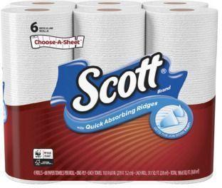6pk of Scott Paper Towels Choose-A-Sheet Regular Rolls