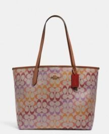 70% Off Everything | COACH City Tote In Rainbow Signature Canvas